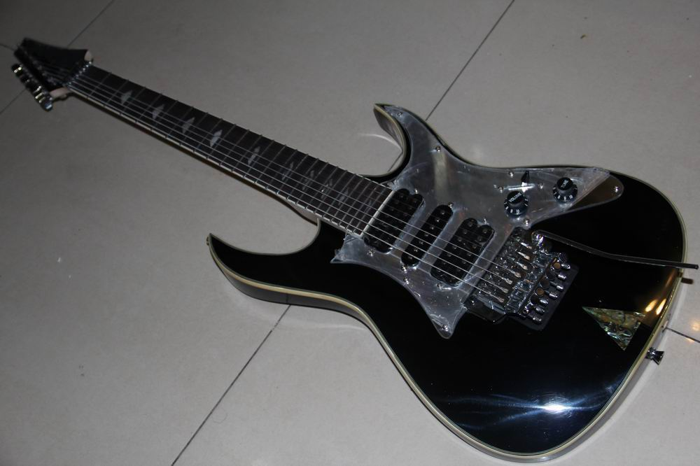 wholesale 7 string electric guitar with tremolo system mirorr pickugard in black 120218 in. Black Bedroom Furniture Sets. Home Design Ideas