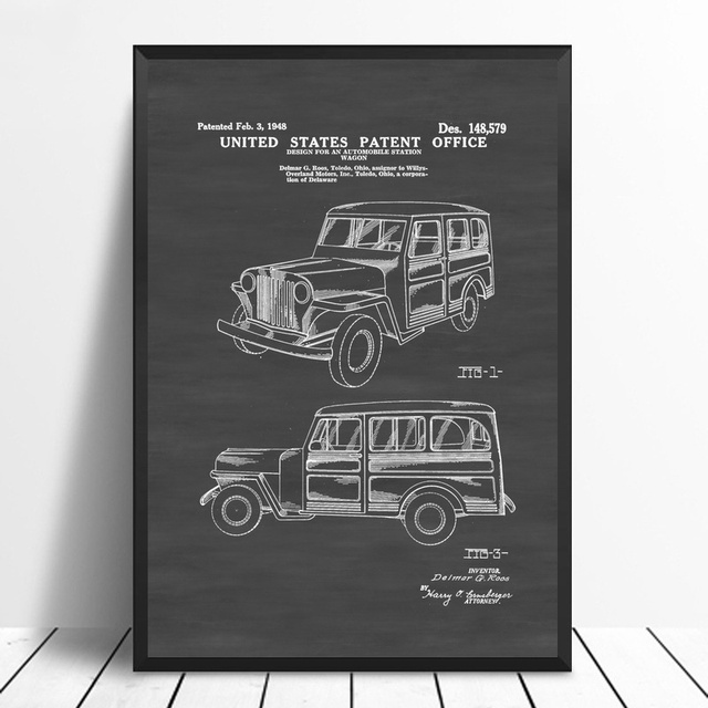 Willys Station Wagon Patent Print Wall Decor Automobile Decor Vintage Automobile Art Classic Car Poster No Frame