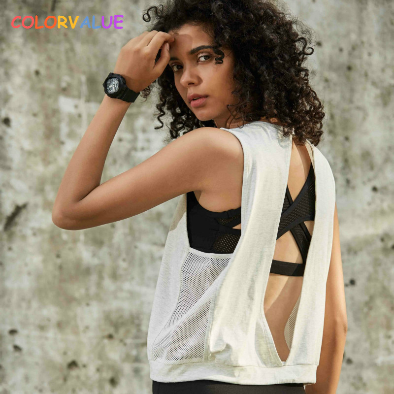 Colorvalue Loose Fit Sport Fitness Vest Women Quick Dry Breathable Mesh Workout Running Tank Tops Back Open Gym Jogger Crop Top mesh yoke crop iridescent tee