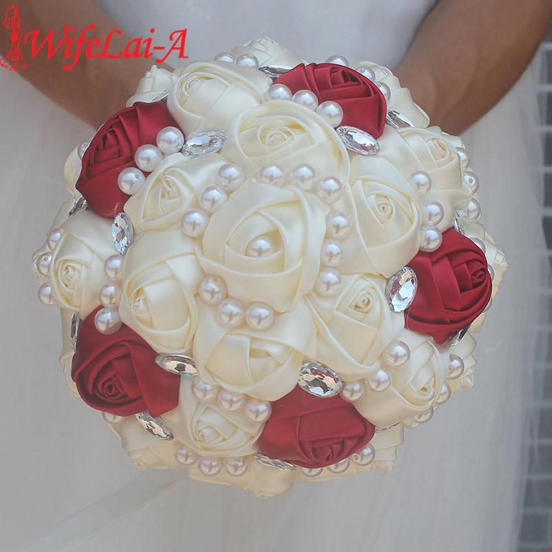 WifeLai-A Customizable Ivory Wine Red Bridal Wedding Bouquets Pearls Crystal Silk Flowers Burgundy Bridal Bouquets De Noiva W234