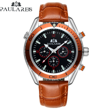Automatic Self Wind Mechanical Orange Blue Black Leather Rubber Stainless Steel