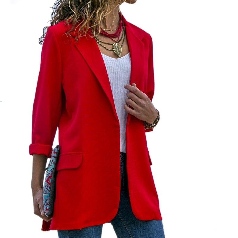 Fashion Slim Blazers Women Autumn Suit Jacket Female Work Office Lady Suit Red None Button Business Notched Blazer Coat
