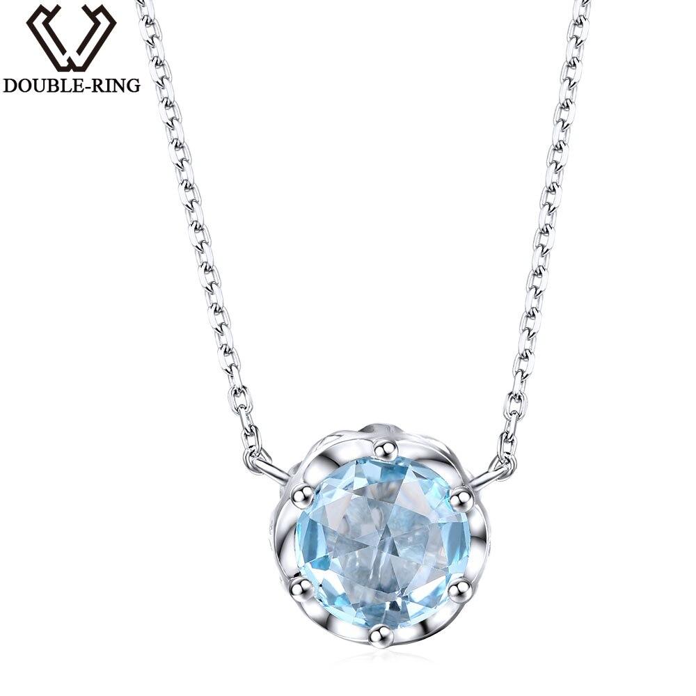 DOUBLE-R 2.07 ct Réel Naturel Bleu Topaze Pendentif Solitaire 925 Sterling Argent Romantique Anniversaire joaillerie pour les Femmes