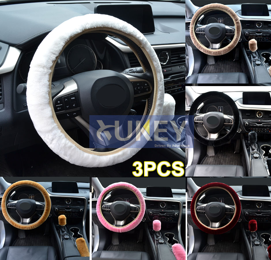 xukey 3pcs faux sheepskin plush wool fur auto car steering wheelxukey 3pcs faux sheepskin plush wool fur auto car steering wheel cover hand brake handbrake cover gear knob glove fluffy winter