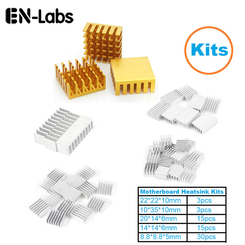 En-Labs 1Set/66pcs Aluminum Heat Sink Radiator Heatsink Cooler Kit for Computer Motherboard, IC chipset,RAM,LAN Heat Dissipation 50pcs 8 8x8 8x5mm aluminum heatsink radiator cooling cooler for electronic chip ic ram led with thermal conductive tape
