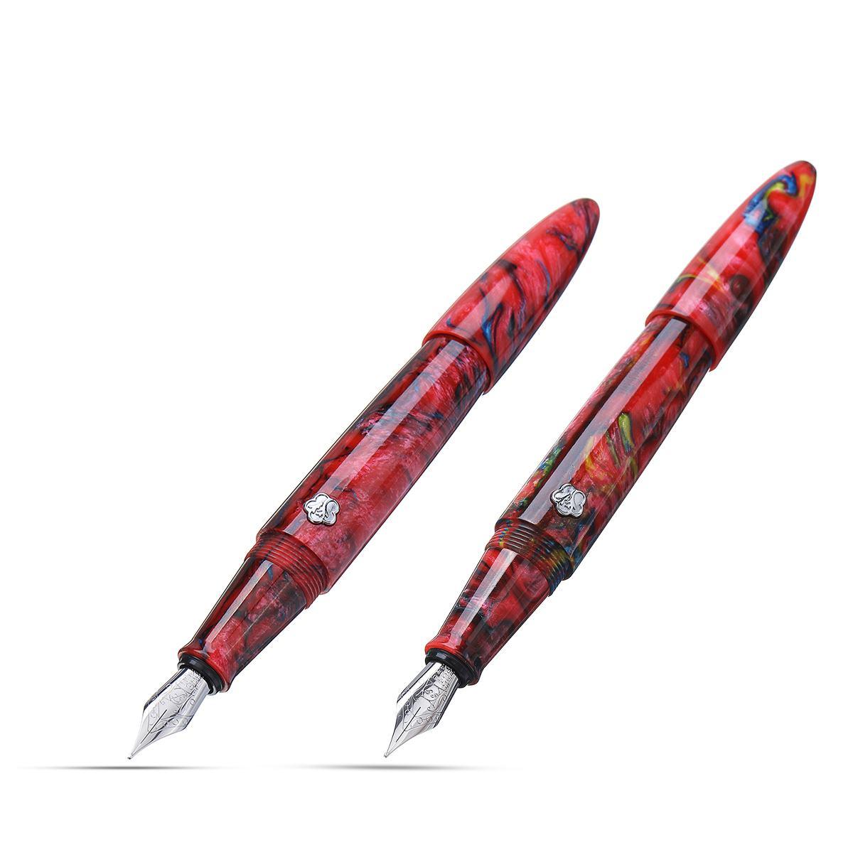 Haut de gamme rouge résine corps stylo plume 0.5mm Extra fin \ Fine Nib convertisseur papeterie bureau école fournitures encre stylo cadeau boîte