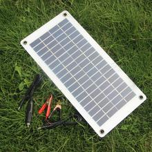 BUHESHUI 10W 18V Semi-flexible Transparent Solar Panel Cell With DC Output For12V Car Boat Motor Battery Charger Free Shipping