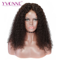 YVONNE Virgin Malaysian Curly Wig With Baby Hair Natural Color 250 Density Lace Front Human Hair Wigs For Black Women