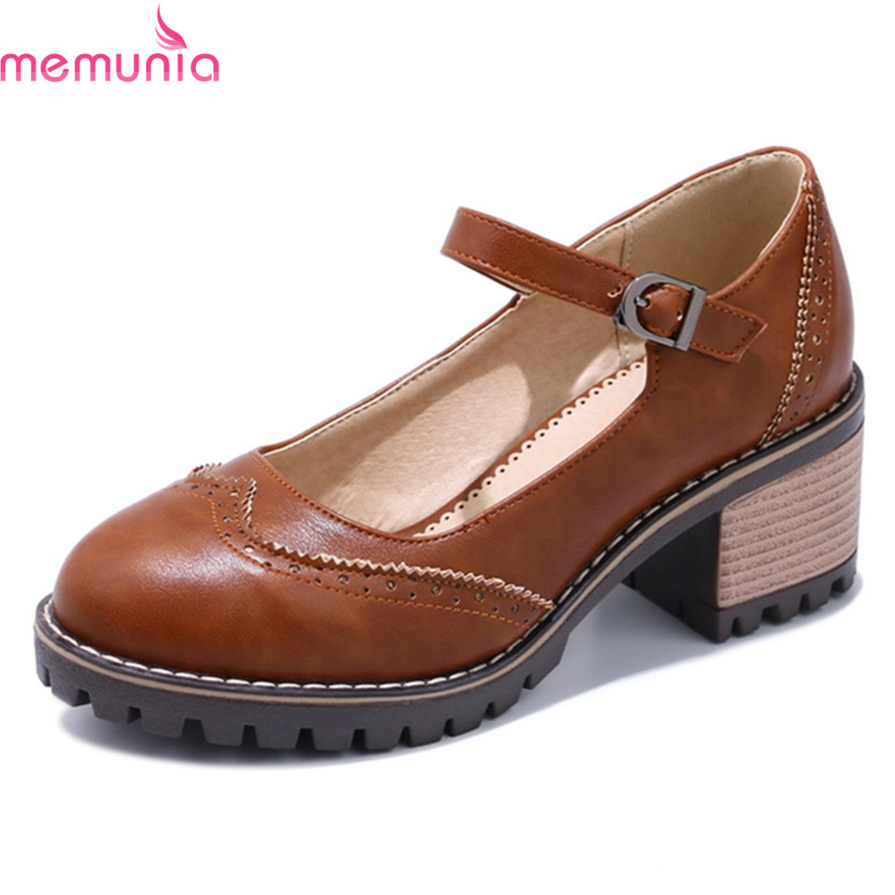 MEMUNIA new fashion square heel casual shoes thick high heels round toe platform sweet buckle top quality women pumps blaibilton 2017 high top quality pu men shoes fashion personality letter platform mens shoes casual designer black blue sd6115