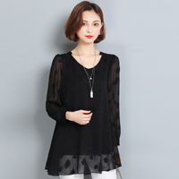 2017 Autumn Lace Shirt Women Blouse Ladies Elegant Fashion Plus Size L 6XL Loose Long Sleeve