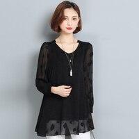 2017 Autumn Lace Shirt Women Blouse Ladies Elegant Fashion Plus Size L 6XL Loose Long Sleeve
