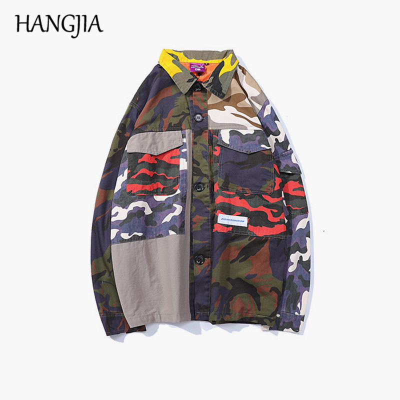 Hip Claro Streetwear De Block Abrigos Chaqueta Ropa Vintage Otoño Chaquetas Denim Color Camuflaje Hop Patchwork Mens 2018 dxwzpqnTad