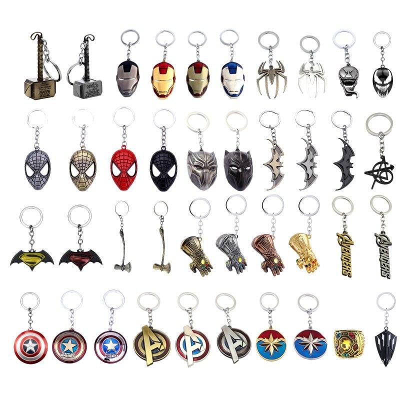 Avengers 4 Captain America Marvel Thor Hammer Keychain Thanos Iron Spider Man Glove Batman Axe Venom Key Chains Keyring Jewelry