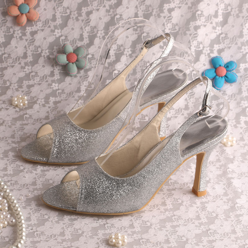 High Heeled Slingback Wedding Shoes Silver Glitter Night