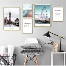 Sea Scenery Nordic Poster Ferris Wheel Decorative Building Wall Art Canvas Painting Wall Pictures For Living Room Quote Unframed