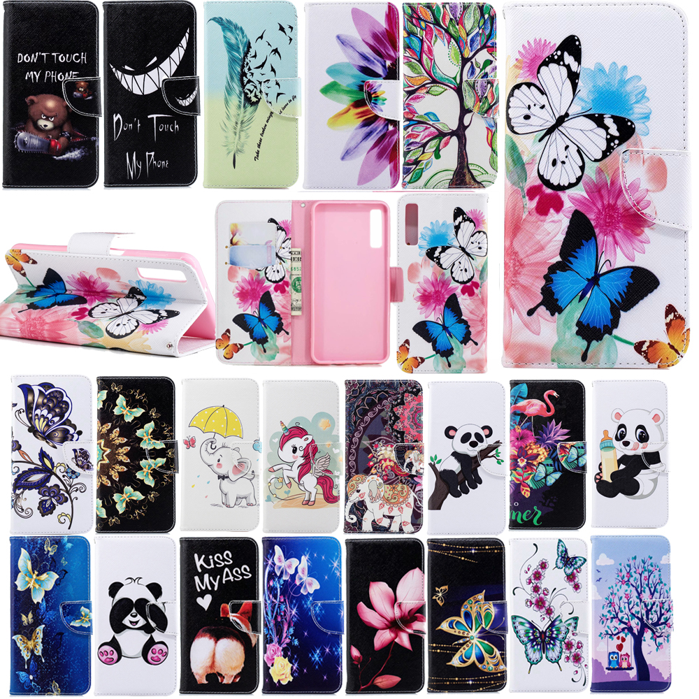 Folio Patterned PU Leather Flip Wallet Phone Case Cover For <font><b>Samsung</b></font> <font><b>A7</b></font> <font><b>2018</b></font> A750 J4 J6 Plus <font><b>2018</b></font> Stand Luxury Leather <font><b>Capa</b></font> Coque image