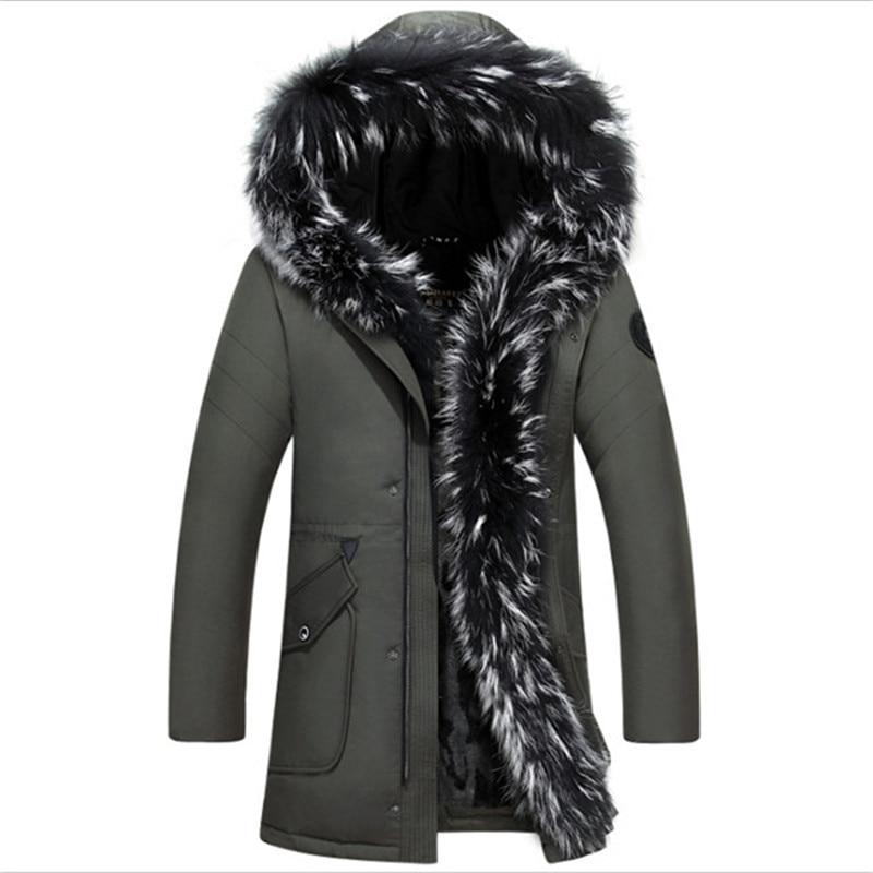 High-grade white raccoon hair Men   down     coat   Winter warm big Fur doudoune homme 90% Duck   Down   Jacket Warm Winte Fit -30 degrees