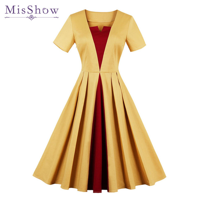 MisShow 2018 Autumn Yellow and Burgundy Patchwork Woman Vintage Dresses  Short Sleeve 4XL Plus Size Party O-Neck Dresses 4422330d5d03