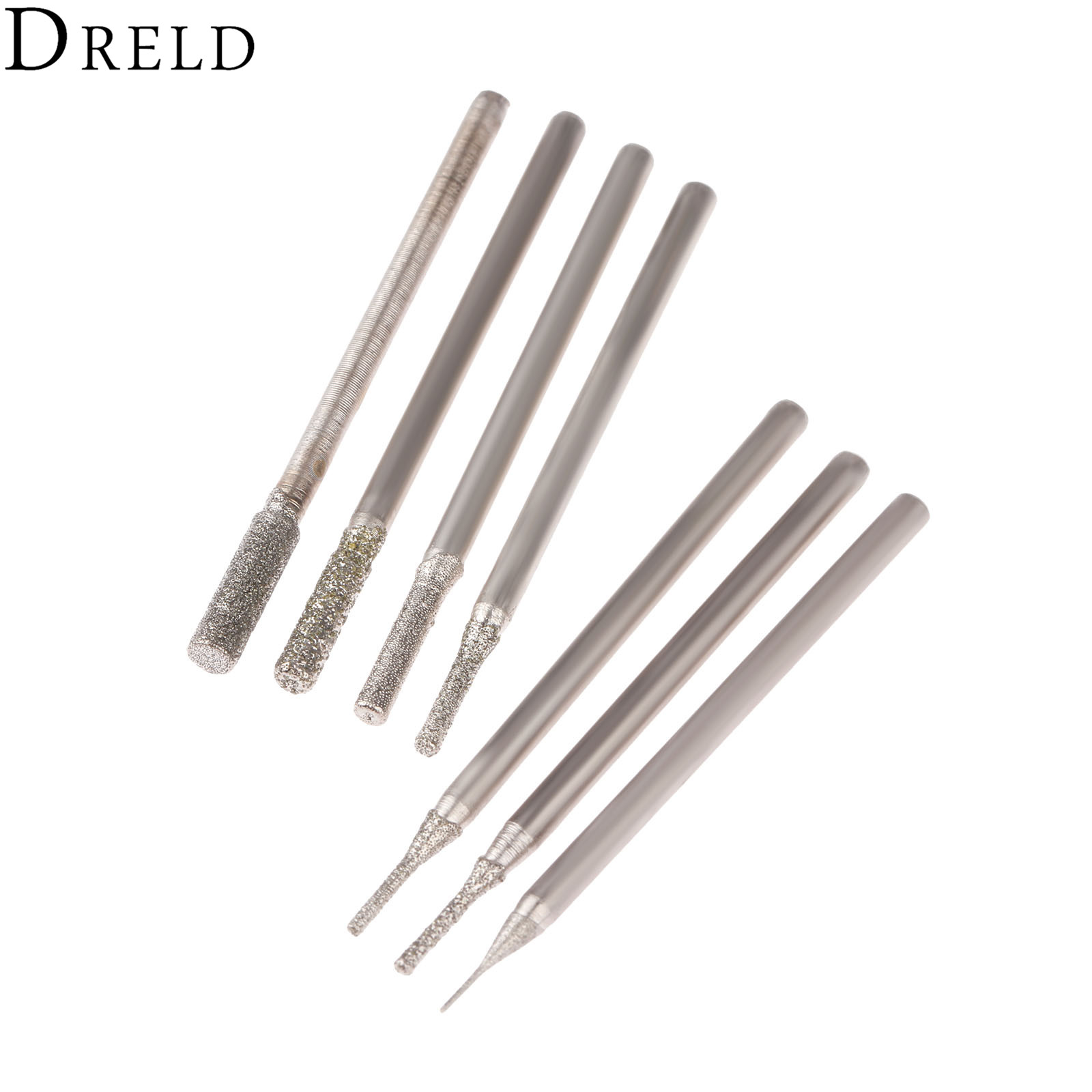 DRELD 7Pcs Dremel Accesories 2.35mm Shank Cylindrical Diamond Grinding Head Stone Jade Amber Carving Polishing Engraving Tools