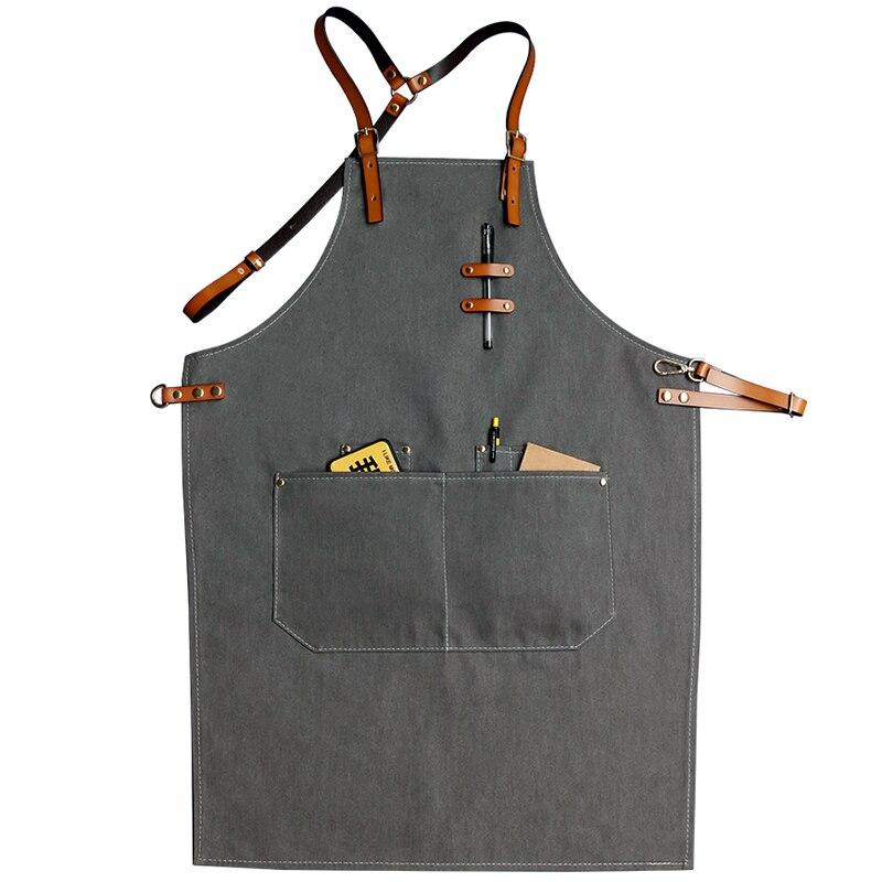 Bavoirs Denim Cowboy tabliers pour femmes hommes BBQ Chef maison cuisine robe barbier coiffure café Jeans cuisinier serveur logo personnalisé avant