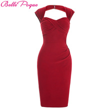 Belle Poque Woman Summer Vintage Red Black Slim Office Pencil Dresses Wear Sexy Party Fitted Bodycon Sheath Women Work Dress