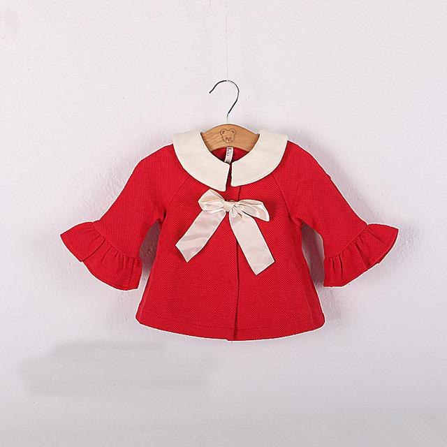 2016 primavera e outono recém-nascido meninas manto meio trumpet mangas roupas meninas cardigan suit 4 - 24 M vermelha crianças jaqueta casaco infantil