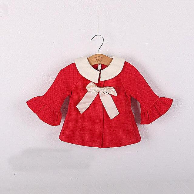 2016 spring&autumn newborn girls cloak half trumpet sleeves girls clothing cardigan suit 4-24M red kids jacket casaco infantil