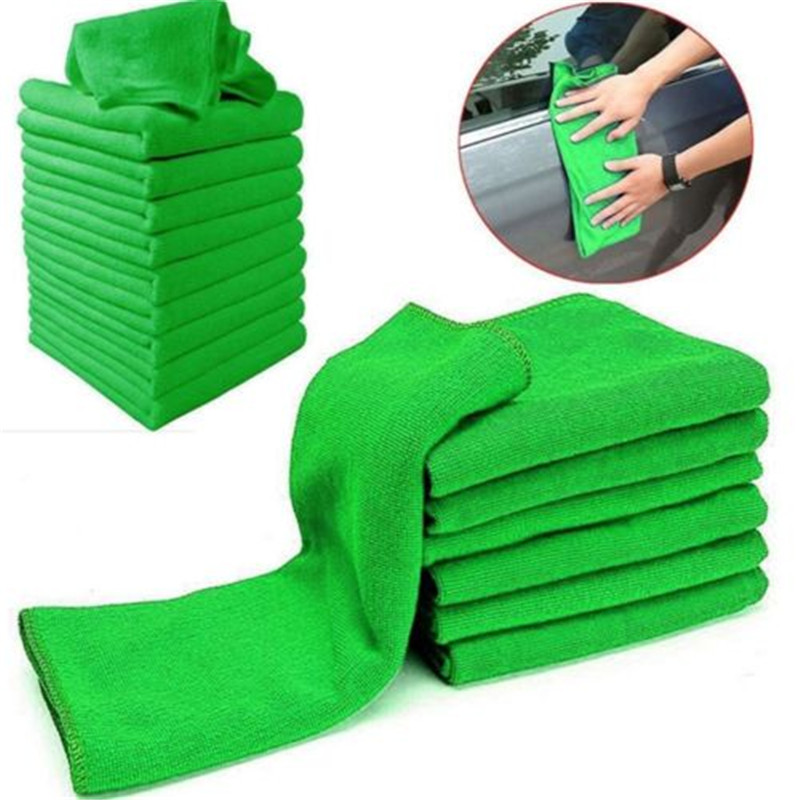 10Pcs Absorbent Microfiber Towel Car Home Kitchen Clean Wash Cloth Green