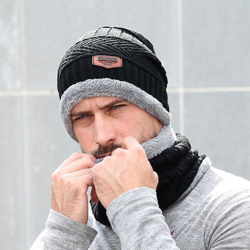 54a0a753546b9f WORSICO Neck Warm Men's Winter Hat Knit Cap Scarf Winter Hats For Men Women  Thick Hat Beanie Soft Knit Skullies Beanies
