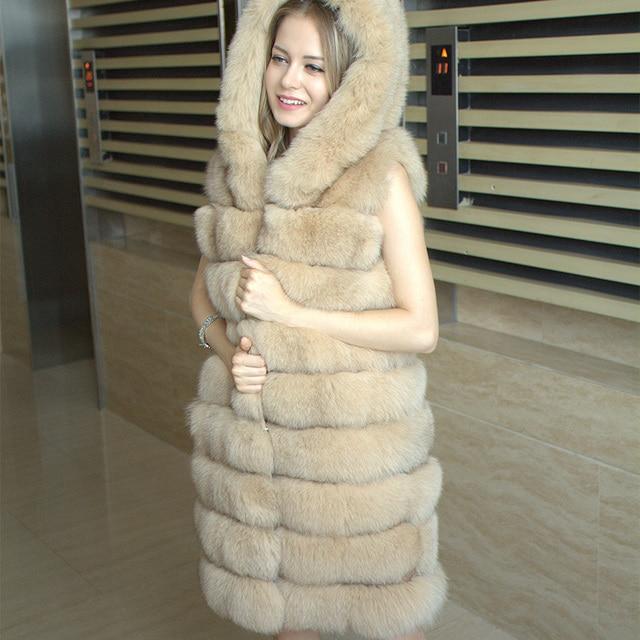 2017 Fashion womens Long blue fox fur vest real fur vest hooded 85 cm