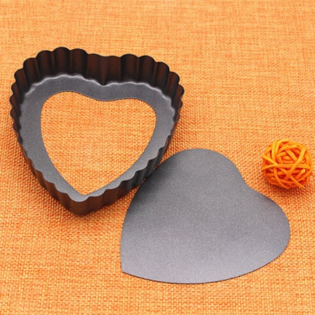 Heart Shape Laced Quiche Pan Nonstick Pie Pan Bakeware With Removable Bottom Easy Release Cake Decor Mould DIY Baking Tools