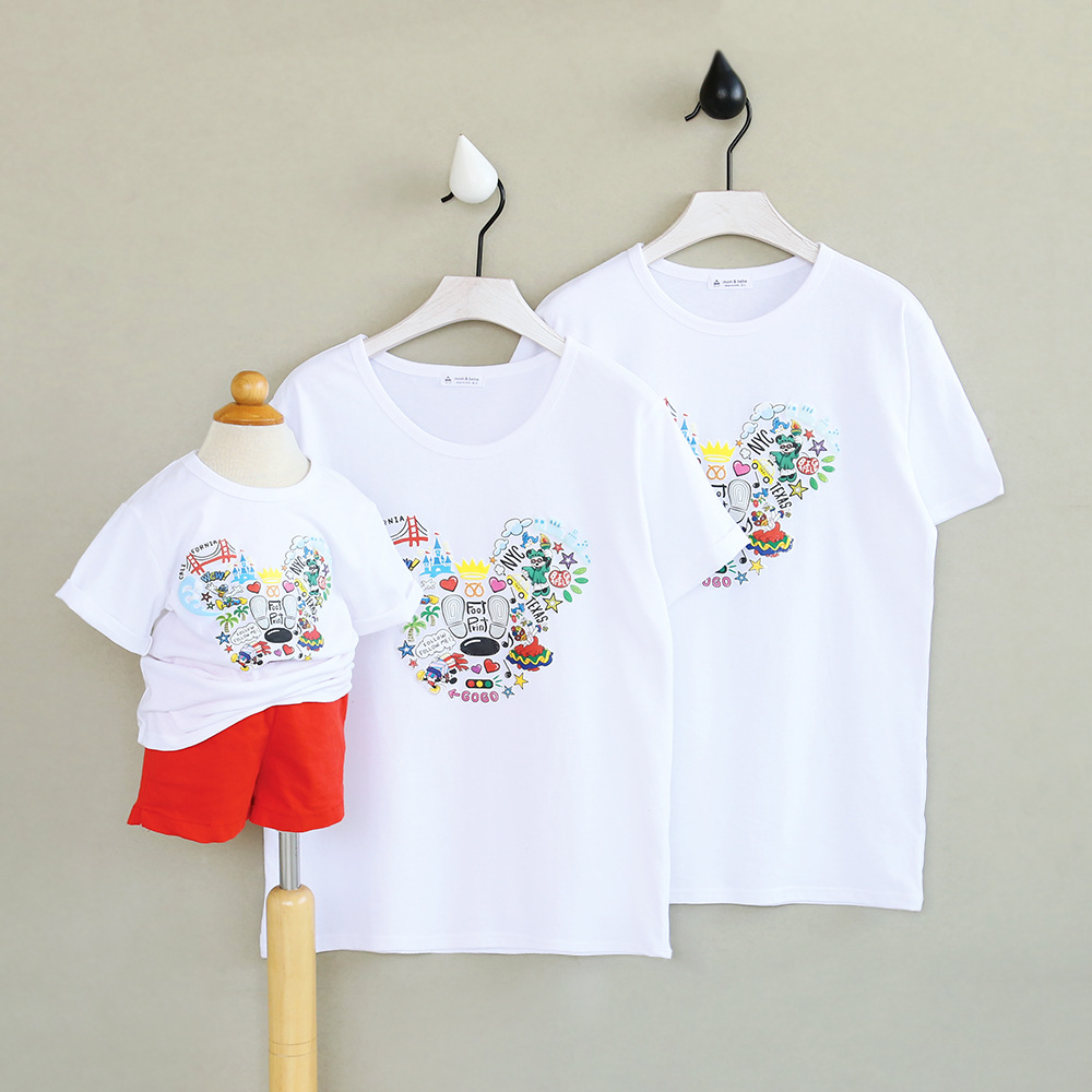 Children family matching outfits cotton T-shirt 2017 summer new boys and girls washed cotton short sleeved T-shirt ...