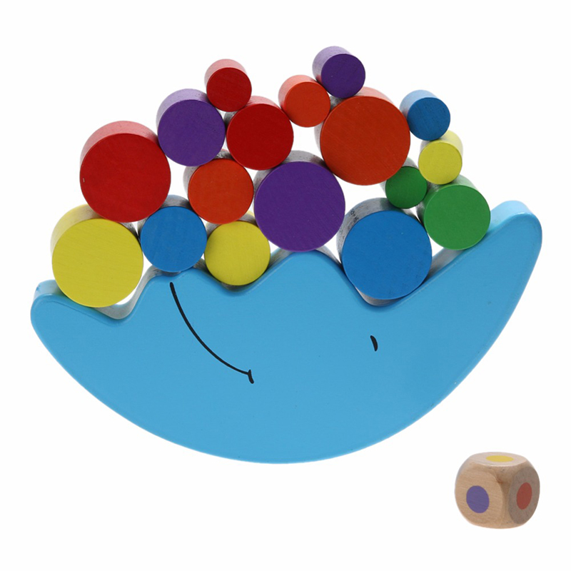 19Pcs/Set Moon Shape Balancing Toy Building Blocks Baby Children Early Learning Balance Training Toy Wood Educational Toys pizza balance game pile up balancing desktop toy pretend play food small family plastic building blocks toys for children