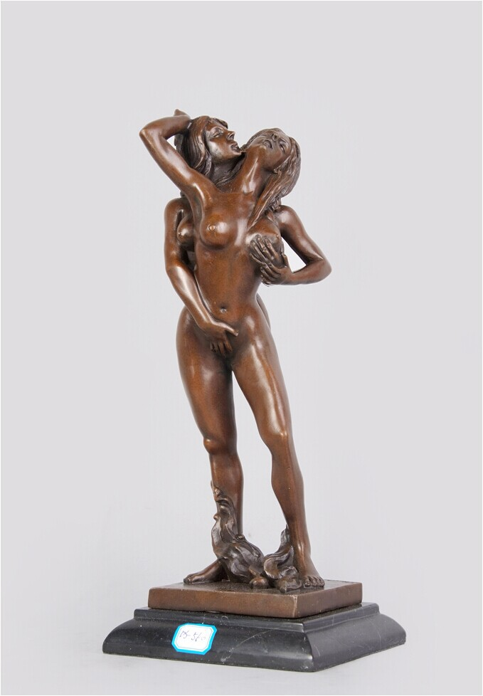 Standing lady nude bronze statue