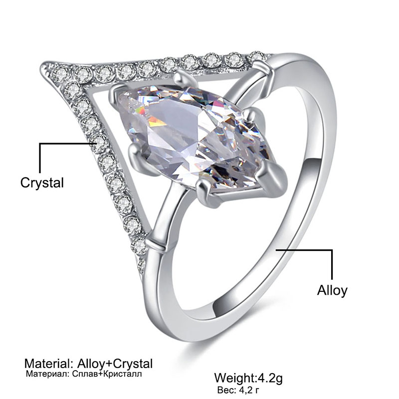 2018Fashion Crystal Zircon Ring Engagement Wedding Ring Set for Women Geometric Party Ring Female Bijoux Statement Jewelry