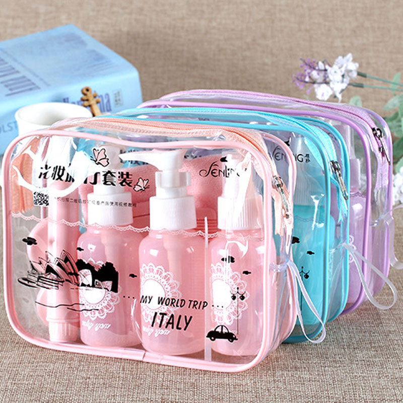 10pcs/set Makeup Spray Bottles Kits Portable Perfume Shampoo Cream Lotion Container Travel Cosmetic Bottle Set with Pouch double travel bottle container with comb