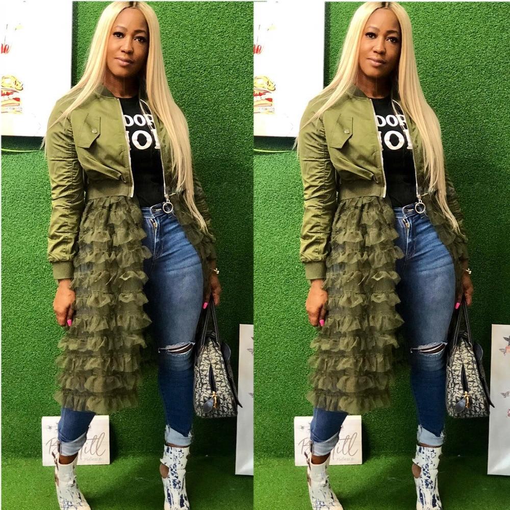 a6370dfa0 Long Sleeve Casual Bomber Jackets Women Clothes Sexy Front Zipper Mesh  Ruffle Patchwork Coat High Street Solid Hem Maxi Outwear