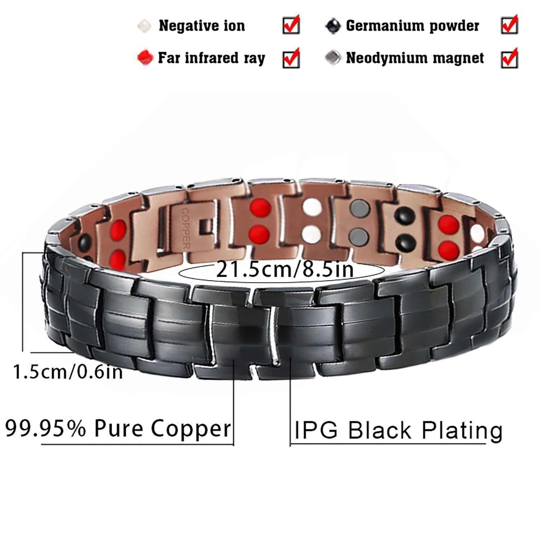 2 Rows Magnet Black Copper Vintage Energy Magnetic Bracelet for Man Charms Health Bracelets Bangle for Gentlemen 2019 2019