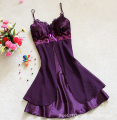 Women Sexy Silk Satin Night Gown Sleeveless Nightdress Lace Sleep Dress V-neck Nighties Night Shirt Fashion Sleepwear Nightwear