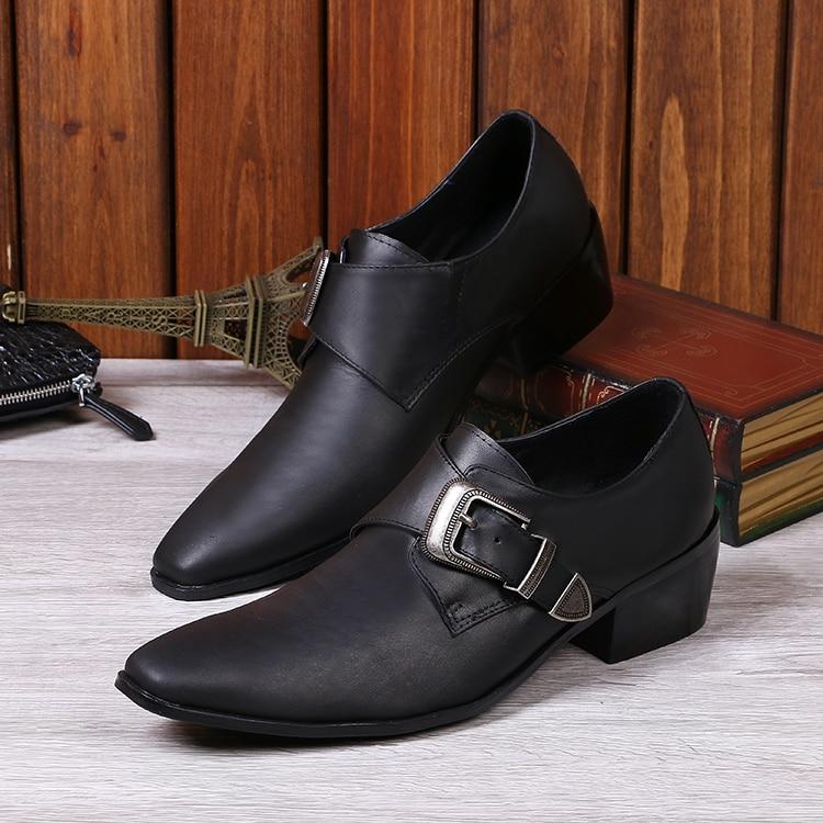 2017 New men's business suit shoes black genuine leather buckled pointed oxfords top quality formal dress wedding shoes men EU46 buckled belt detail plaid top