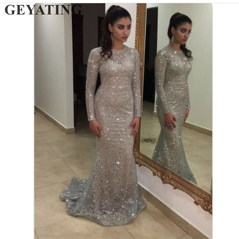 b5f132eef0b Shiny Silver Sequins Dubai Mermaid Evening Dress Long Sleeves Arabic Formal  Prom Dresses 2019 Gold Bodycon Maxi Dress Party Gown-in Evening Dresses  from ...
