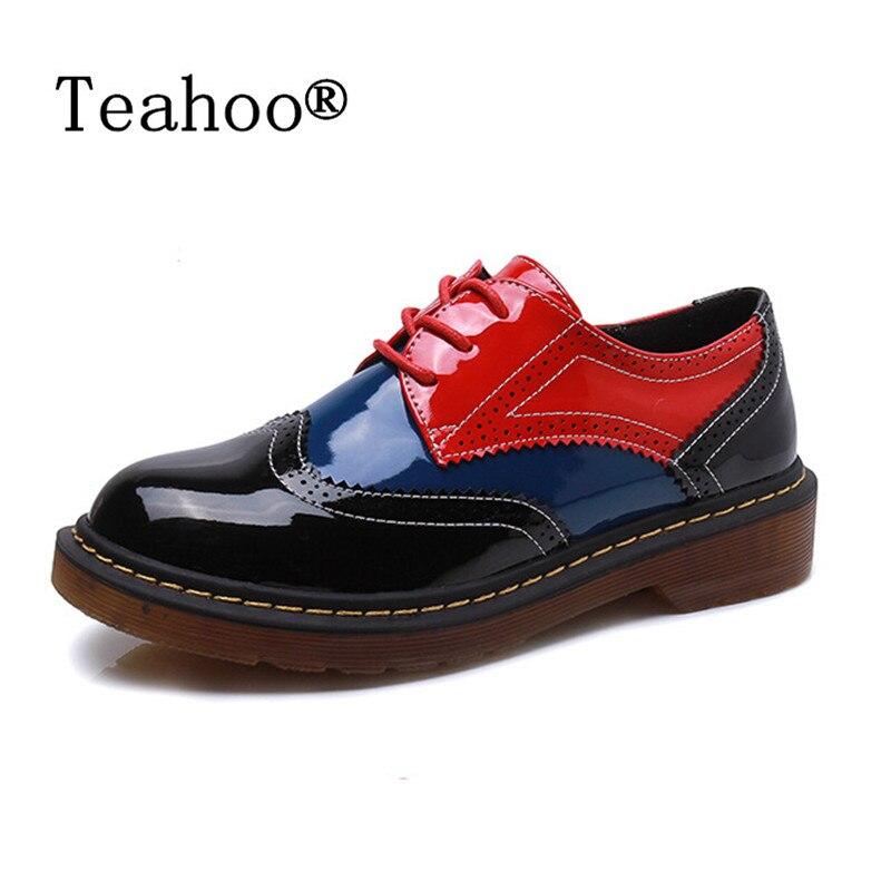 2017 Herbst Frauen Oxford Schuhe Vintage Runde Kappe Frauen Wohnungen Derby Stiefeletten England Stil Damen Schuhe Chaussure Femmer