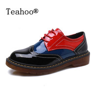 2016 Autumn Fall Women Oxford Shoes Vintage Round Toe Women Flats Derby Ankle Boots England Style
