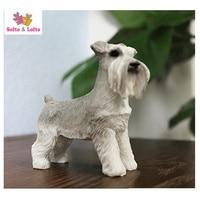 MINI Schnauzer Terrier Dog Model Craft Artificial Puppy Home Desk Car Decoration Party Favor Birthday Gift