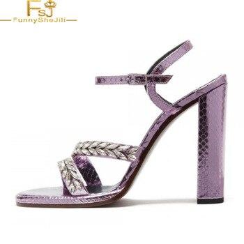 Violet Round Toe Rhinestone Heeled Buckle Ankle Strap Python Chunky Heel Sandals Dancing club Anniversary Woman shoes 4-16 FSJ