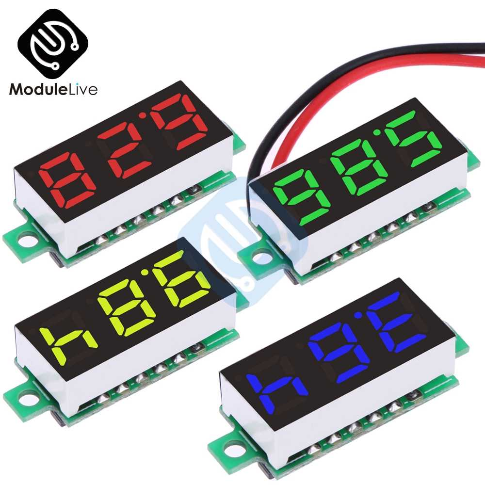 "Red Blue Yellow Green 0.28"" 0.28 inch DC 3.5-30V Super Mini Digital LED Car Voltmeter Voltage Volt Panel Meter Battery Monitor"