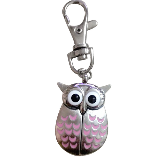 2018 New arrival cute owl shapes Alloy quart round Pocket watch Keychain #1226