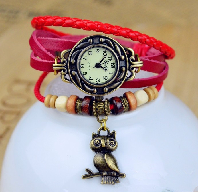 Hot sales owl genuine cow leather bracelet watch women ladies female fashion dress quartz wrist watch