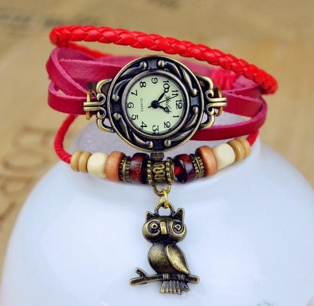 Hot Sales Owl Genuine Cow Leather Bracelet Watch women ladies men fashion dress quartz wrist watch kz015
