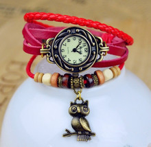 Горячие Продажи Сова Подлинная Корова Кожаный Браслет Смотреть женщин дамы моды платье кварцевые наручные часы kz015